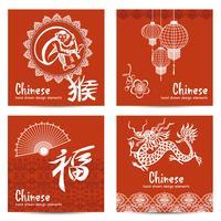 Kinesiska kort Set vektor