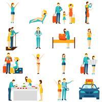 Reisende flache Ikonen des internationalen Tourismus eingestellt vektor