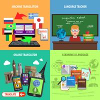 Übersetzen Sie quadratische dekorative Icons Set