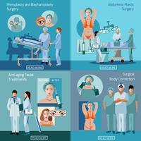 Flaches Ikonenquadrat der plastischen Chirurgiekonzept 4