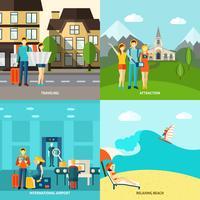 Turism 4 platta ikoner kvadratiska banderoll