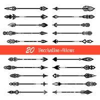 Handdragen Doodle Arrows Set