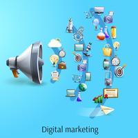 Digital marknadsföringskoncept platt banner vektor