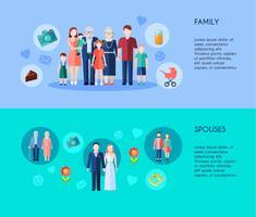 Familie und Ehepartner Banner vektor