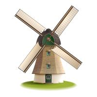 Windmühle gemaltes Farbkonzept