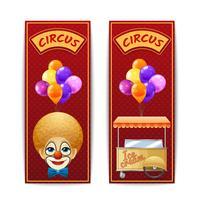 Två vertikala cirkus banderoller