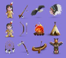 Ureinwohner-Karikatur-Ikonen