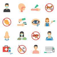 Allergie-Ikonen-Flacher Satz