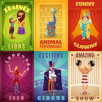 Zirkus 6 flache Banner Zusammensetzung Poster