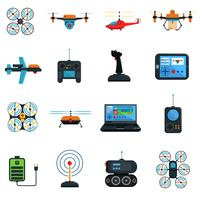 Drones Ikoner Set vektor