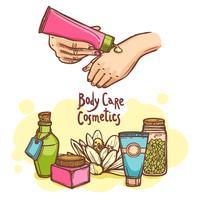 Kroppsvård kosmetika produkter ad affisch