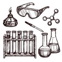 Kemiverktyg Handdragen Set vektor