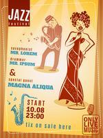 Jazz musikfestival vintageaffisch vektor