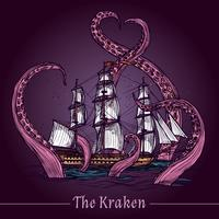 Kraken-Skizze-Illustration vektor