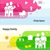 familj banners set vektor