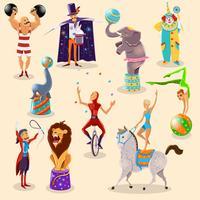 Circus vintage piktogram uppsättning arrangemang