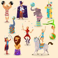 Zirkusweinlese-Piktogramme stellten Anordnung ein