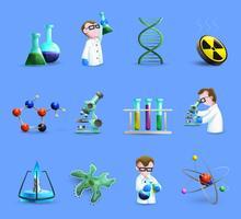 Wissenschafts-Laborausrüstungs-Ikonen eingestellt mit