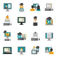 E-learning ikoner platt uppsättning vektor