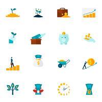 investering platt ikonuppsättning