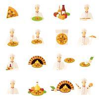 pizza tillverkare platt ikoner uppsättning vektor