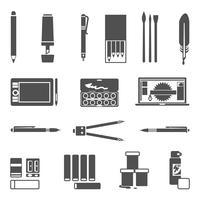 Teckningsverktyg Ikonuppsättning vektor
