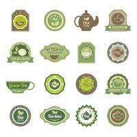 Grön te etikett ikoner uppsättning