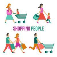 Leute einkaufen gesetzt