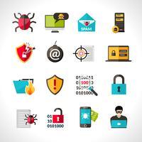 Cyber-Virus-Icons gesetzt