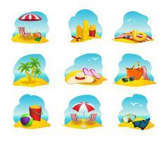 Strand ikoner Set