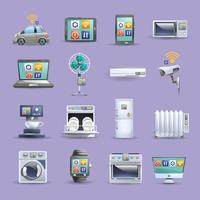 Internet av saker platta ikoner uppsättning vektor
