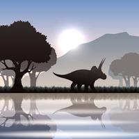 Silhuett dinosaur i landskapet