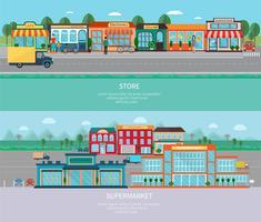 Laden und Supermarkt Banner gesetzt vektor