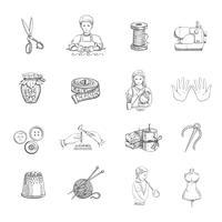 skiss handgjorda ikoner uppsättning vektor