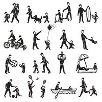 Familienaktivität-Skizzen-Icon-Set
