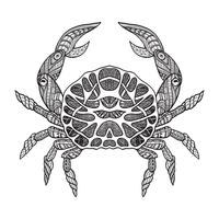 Doodle sketch Crab Black Line