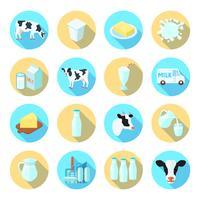 Mjölk platta ikoner uppsättning