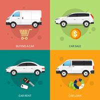 Biluthyrning och försäljning vektor