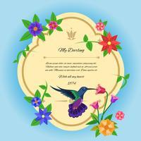 Vogel und Blumen Postkarte vektor