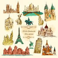 Världslandskap Sketch Vintage Icons Set