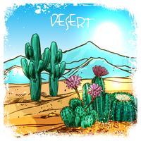 kaktus i ökenschemat vektor