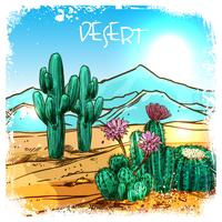 Kaktus in der Wüstenskizze vektor