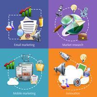 Digital marknadsföring 4 platta ikoner kvadrat vektor