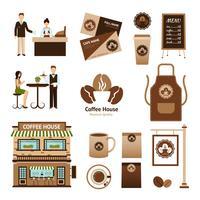 Kaffehus Set vektor