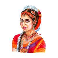 Indisk kvinna porträtt vattenfärg illustration