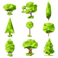 Träd abstrakta piktogram set vektor