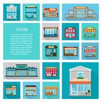 Shopping i butiker ikoner uppsättning vektor
