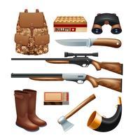Jaktpaket och utrustning ikoner uppsättning vektor