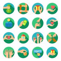 Lange Hände, welche die flachen Ikonen eingestellt geben vektor