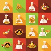 pizza tillverkare platt ikoner uppsättning